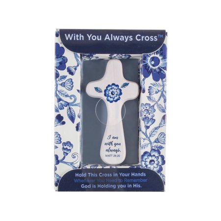 Wooden Cross Designs - DaySpring  -  I Am with You Always - Blue & White Handheld Wooden Cross by DaySpring