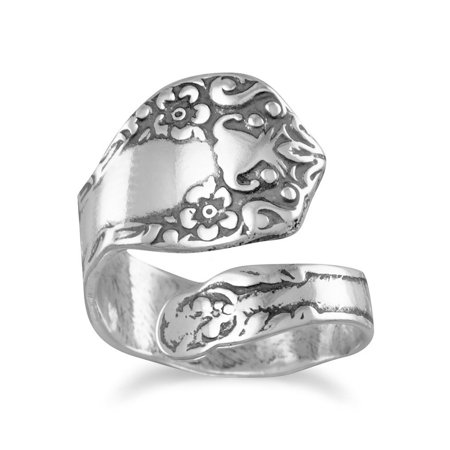 Spoon Ring Oxidized Sterling Silver Floral (Floral Spoon Ring)
