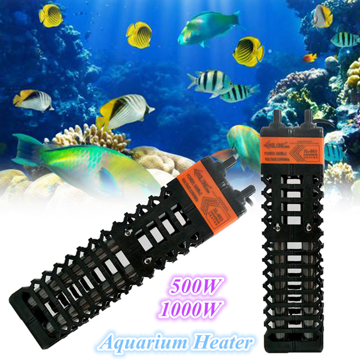 Moaere Submersible Aquarium Heater 250-500W with Thermometer and Suction Cup