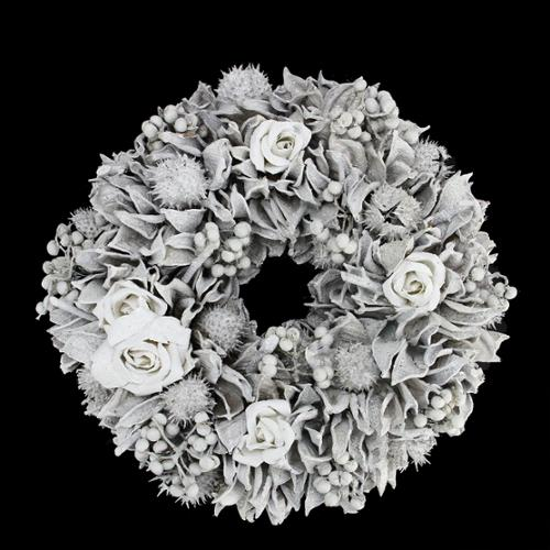 """9.5"""" White Glitter Rose and Walnut Shell Artificial Christmas Wreath - Unlit"""