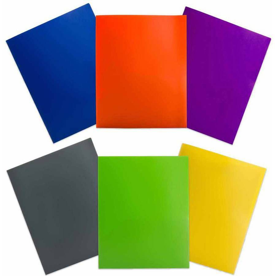 JAM Paper Eco Plastic Presentation Folders, Assorted Colors, 6pk