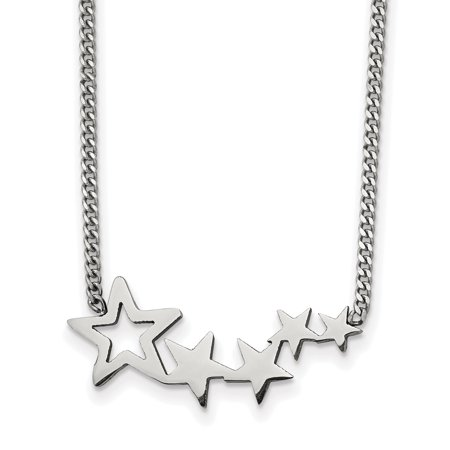 Stainless Steel Polished Stars with 2in extension Necklace 18in -  Saris and Things