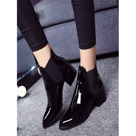 Fashion Women Elasticated Patent Leather Boots Pointed Low Heel Boots