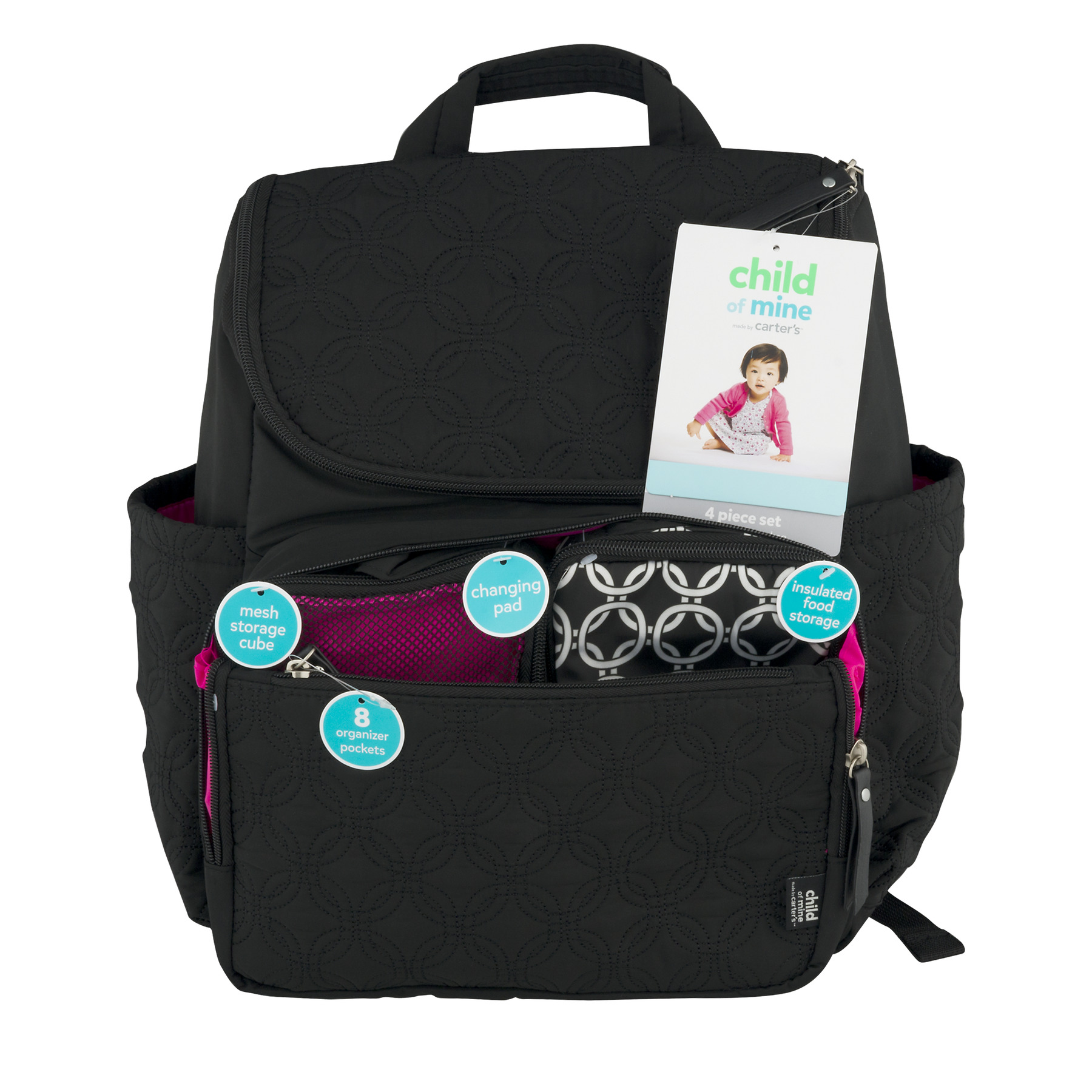 Child of Mine by Carter's Quilted Backpack Diaper Bag, Black