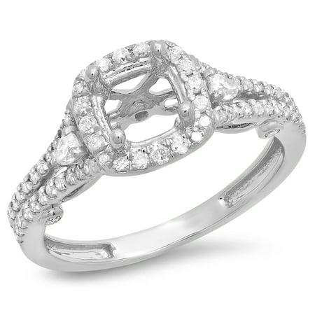 Dazzlingrock Collection 0.50 Carat (ctw) 14K Pear & Round Diamond Bridal Semi Mount Engagement Ring 1/2 CT, White Gold, Size 6 1/2 Ct Diamond Pear Bezel