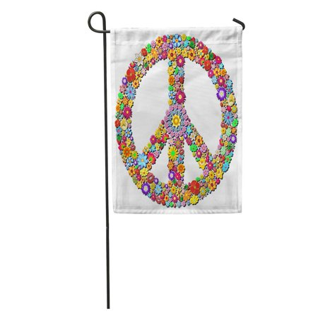 SIDONKU Colorful Hippy Peace Symbol Groovy Flowers Sign Woodstock Floral Love Garden Flag Decorative Flag House Banner 12x18 inch](Woodstock Banner)