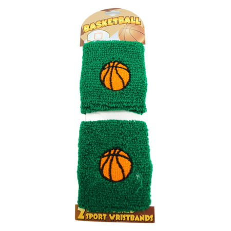 Green Colored Basketball Stretchable Wristband Set (2 pc)](Wristband Light)