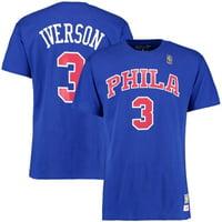 91ecd62695ae Product Image Allen Iverson Philadelphia 76ers Mitchell   Ness Hardwood  Classics Retro Name   Number T-Shirt
