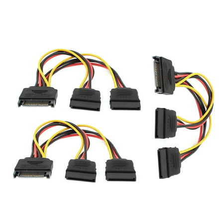 Unique Bargains 15 Pin SATA Male to Dual 15 Pin SATA Splitter Female Power Cable 3 Pcs