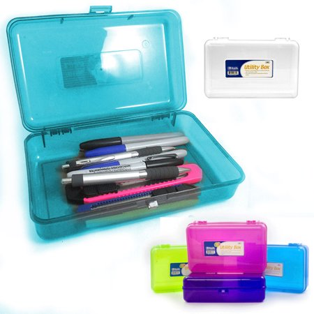 Plastic Pencil Box Case Kids School Office Supplies Pen Art Craft Organizer New - School Supplies Stores Near Me