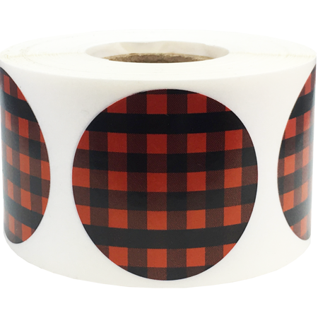 Red Buffalo Plaid Color Coding Labels Round Circle Dots 1.5 Inch 500 Total Adhesive Stickers