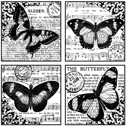 "Crafty Individuals Unmounted Rubber Stamp 4.75""X7"" Pkg-4 Beautiful Butterflies"