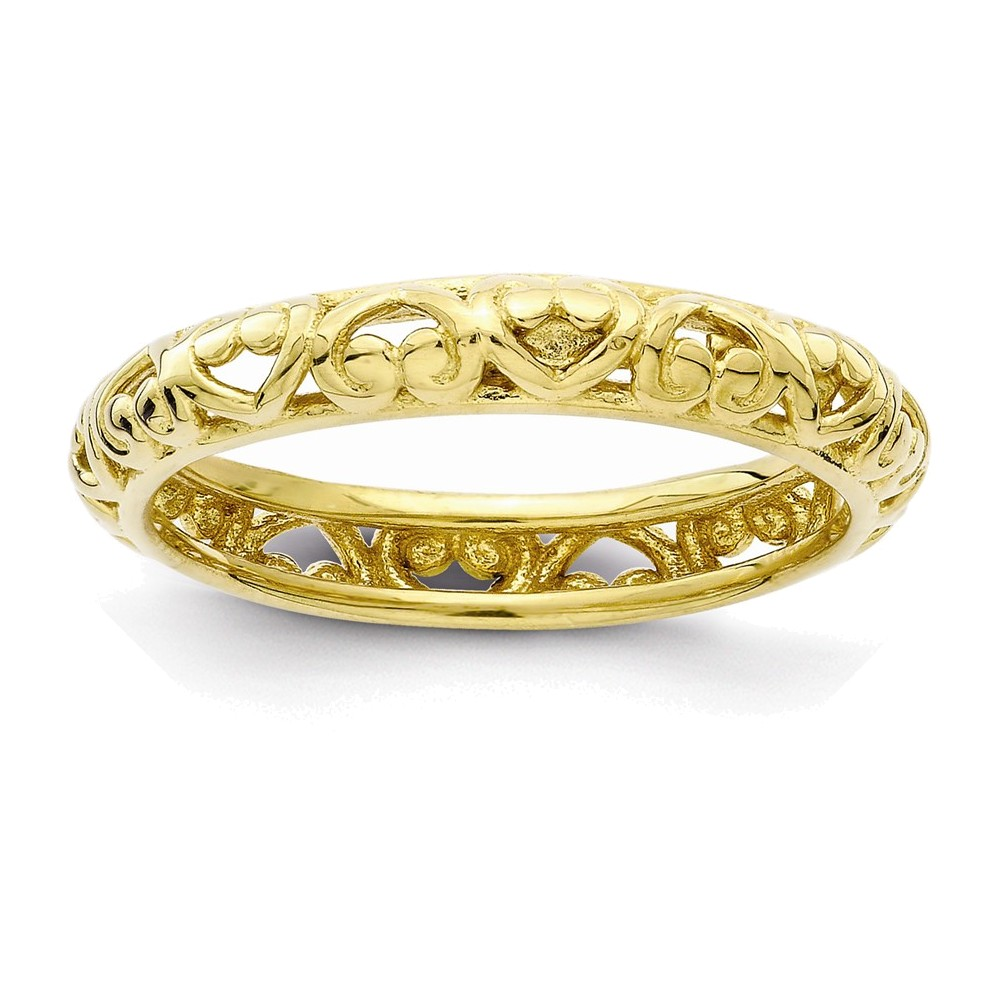 Sterling Silver Stackable Expressions Gold-plated Carved Ring Size 7