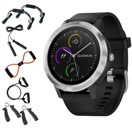 Garmin 010 01769 01 Vivoactive 3 Gps Fitness Smartwatch  Black   Stainless    7 In 1 Total Resistance Fitness Kit   Charging   Data Transfer Cable   Universal Travel Wall Charger