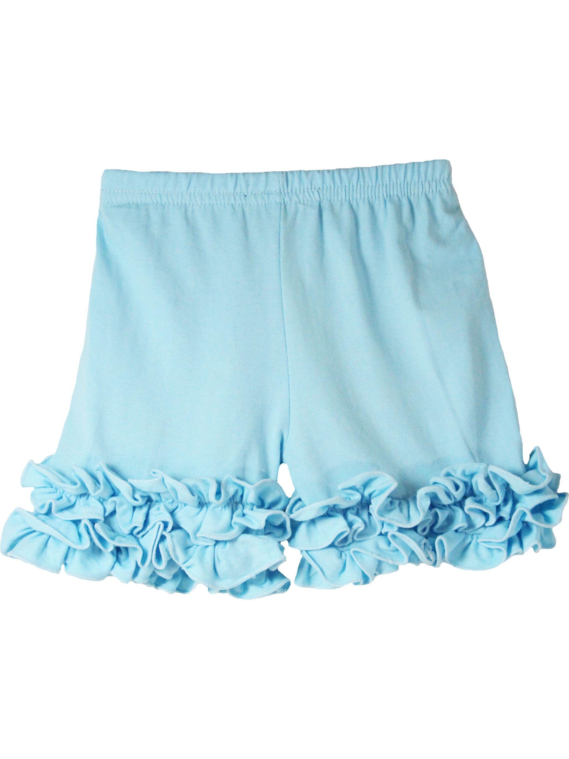 Girls Light Blue Elastic Waist Ruffle Bottom Icing Boutique Shorts