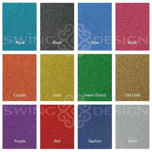 Siser Glitter Heat Transfer Material 20 in x 1 ft Sheet - 31 Colors Available