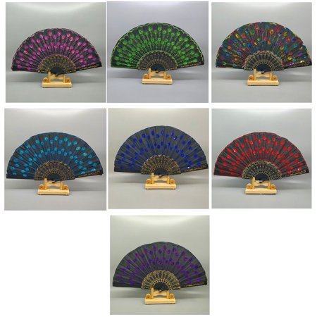 FASHCOOL Portable Handy Peacock Pattern Folding Hand Fan Embroidered Sequin for Party Wedding Prom Dance Use Good Decoration DEALS for 2018 for $<!---->