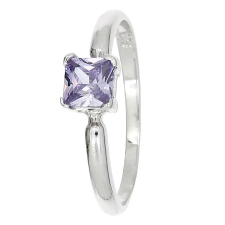 Sterling Silver Cubic Zirconia Princess Cut Birth Stone June Birthday Children's Ring (Size 3) Cut 3 Stone Ring
