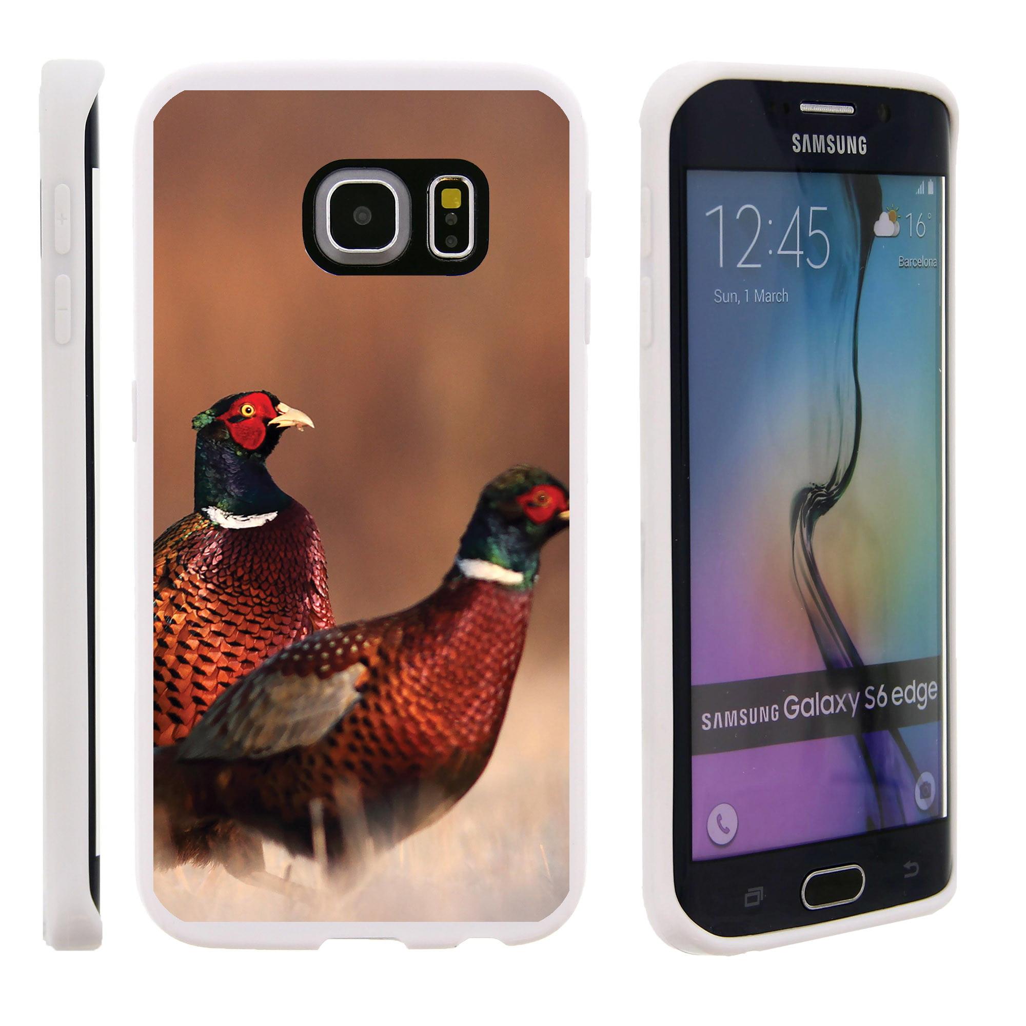 Samsung Galaxy S6 Edge G925, Flexible Case [FLEX FORCE] Slim Durable TPU Sleek Bumper with Unique Designs - Red and Green Birds