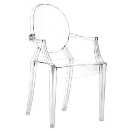 (Set Of 4 Polycarbonate Antique Elegant Anime Dining Room Chairs  - Transparent)