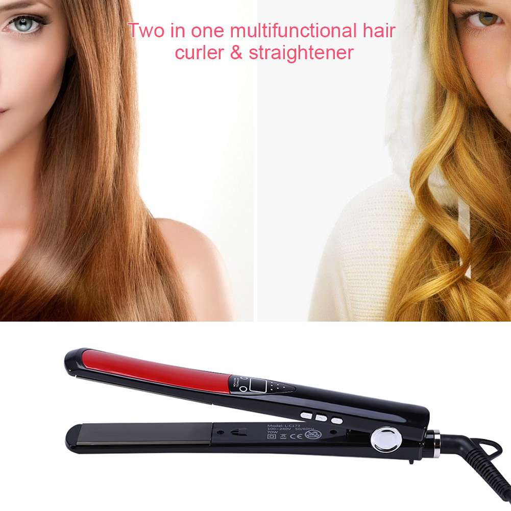 Hair Straightener Iron Curler Hair Styling Tools Flat Iron Straightening LCD Display US Plug, Hair Styling Tools, Ceramic Tourmaline Curler