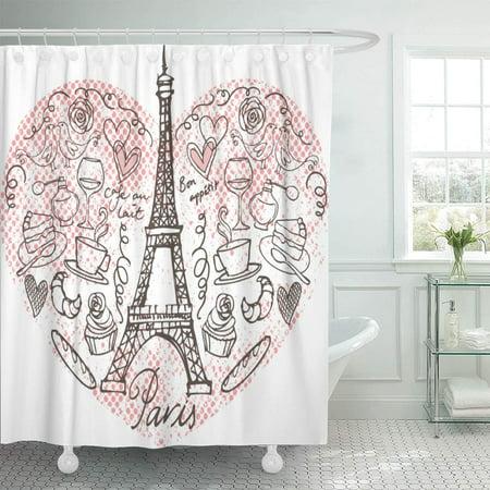 - KSADK Pink Eiffel Paris Doodle in Heart Tower Sketch Vintage Cafe Cake Celebration Clipart Bathroom Shower Curtain 60x72 inch