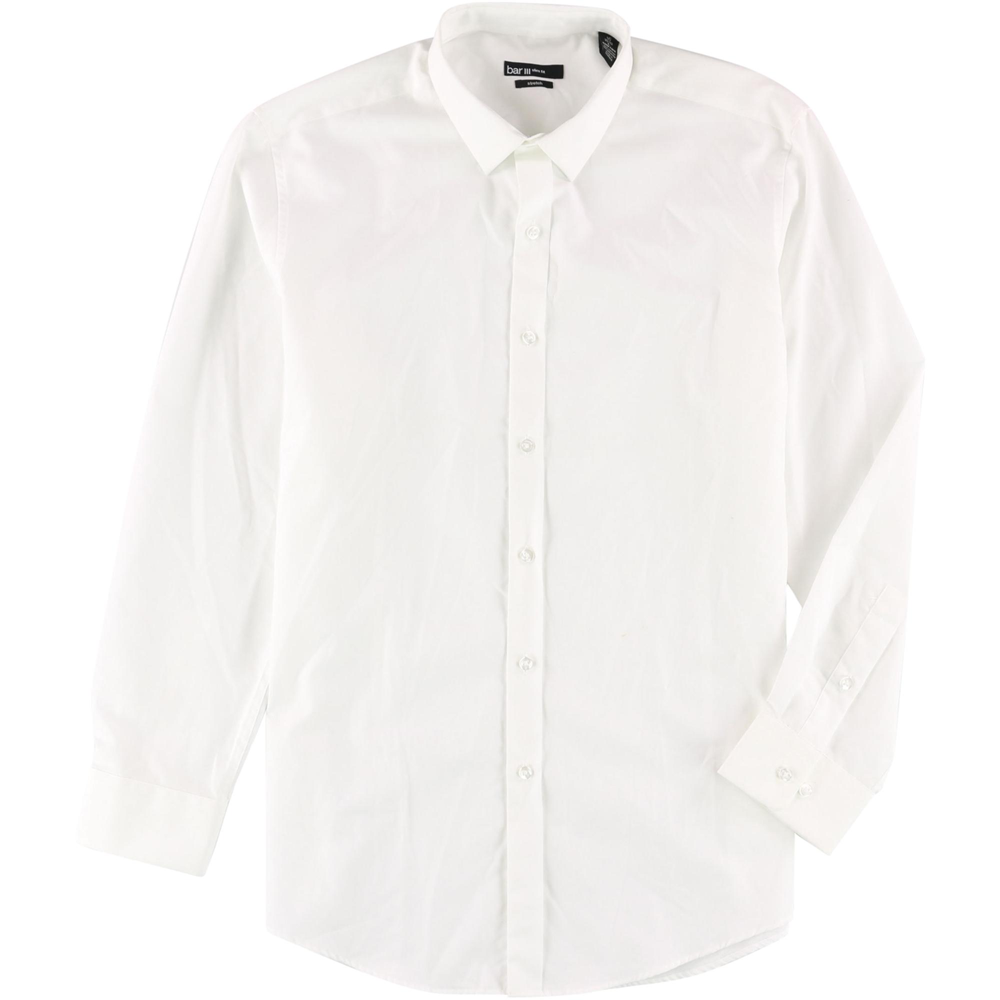 $96 BAR III Men SLIM-FIT WHITE BLUE LONG-SLEEVE BUTTON DRESS SHIRT 16-16.5 34//35