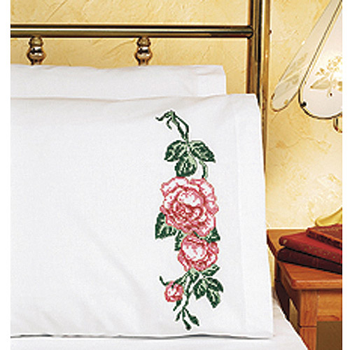 "Roses Pillowcase Pair Stamped Cross Stitch, 20"" x 30"""
