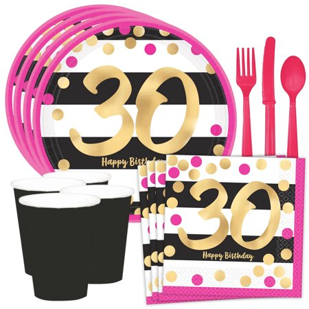 Metallic Pink & Gold 30th Birthday Standard Tableware Kit (Serves 8)