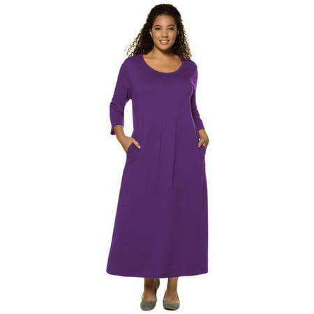 Ulla Popken Womens Plus Size 2 Pleat Cotton Knit Dress 714033