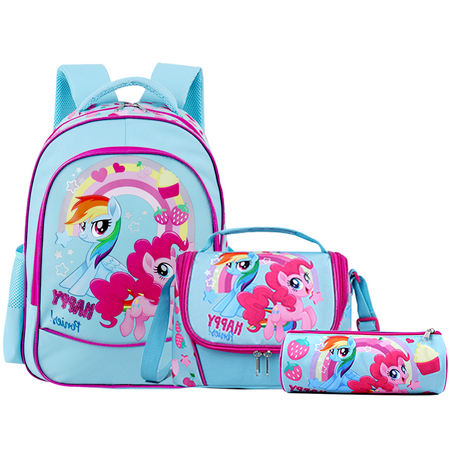 Unicorn School Backpacks for Girls Kids Toddler School Bags Waterproof with Lunch Bag Snack Bag Pencil Case Bookbags Set Lightweight Travel Canvas Bag for Preschool Kids boys with Free Keychain