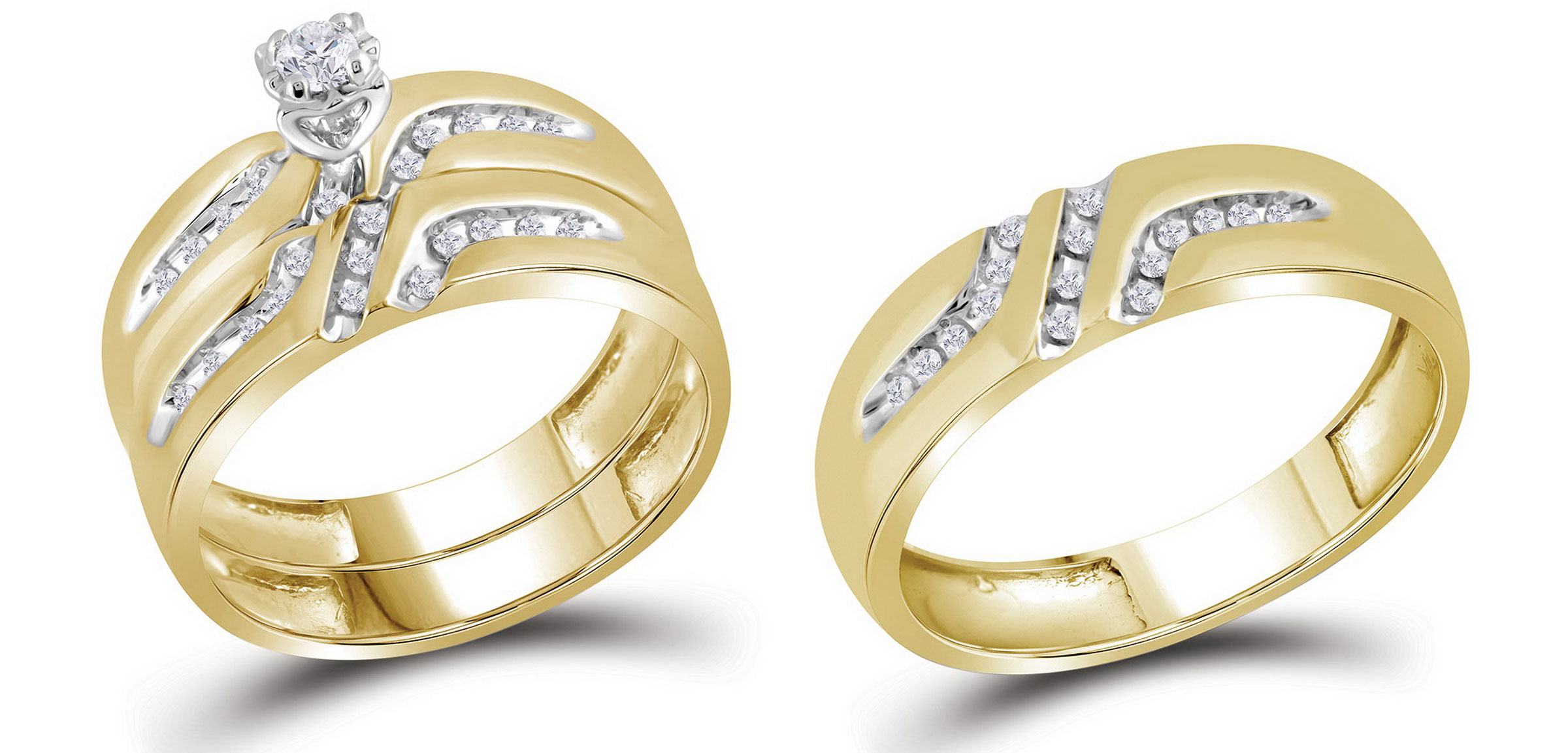 10kt Yellow Gold His & Hers Round Diamond Solitaire Matching Bridal Wedding Ring Band Set (.25 cttw.) by Mia Diamonds