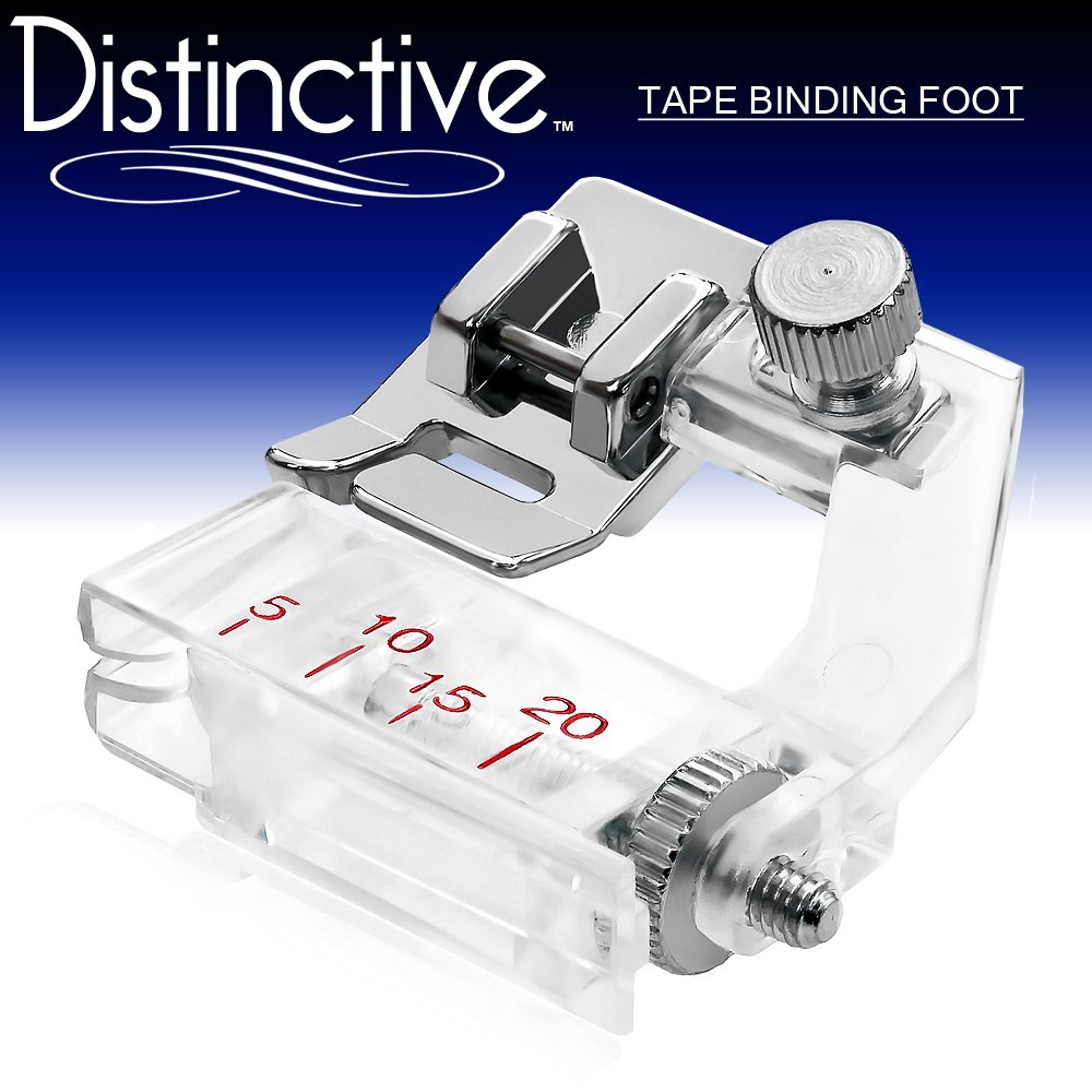 Distinctive Tape Binding Sewing Machine Presser Foot - Fits All Low Shank Snap-On Machines