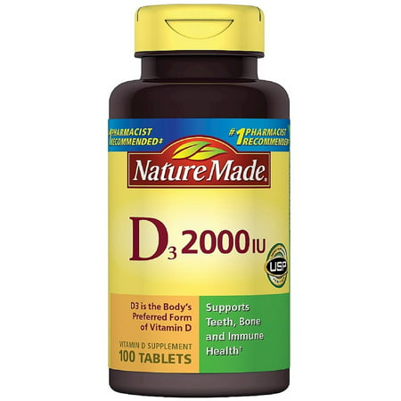 2 Pack - Nature Made Vitamin D3 2000 IU Tablets 100 ea (Natures Made Vitamin D)