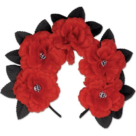 Beistle Day of the Dead Floral and Sugar Skull Headband, Black Red, One-Size - Dread Headband