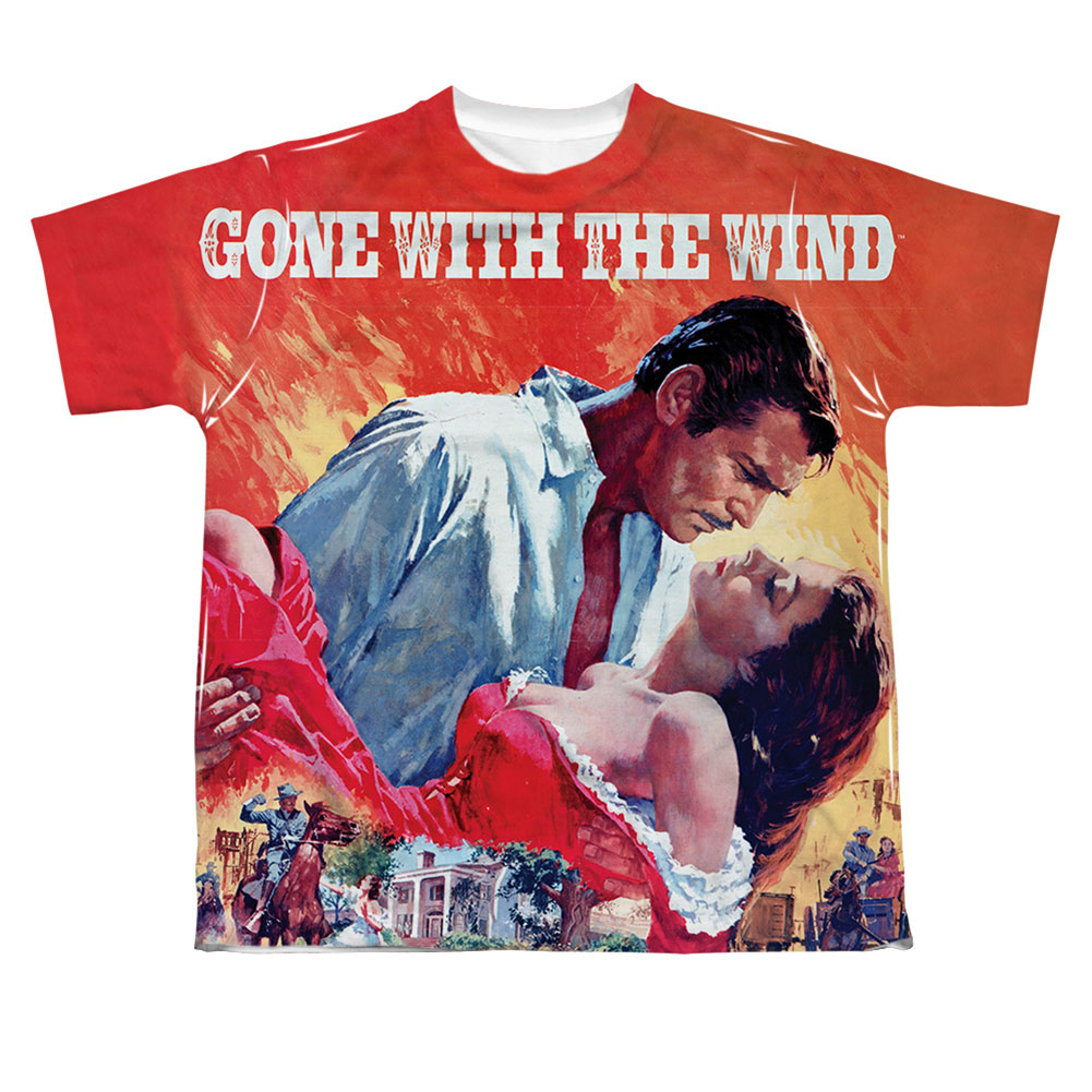 Gone With The Wind Men's  Poster Sublimation T-shirt White