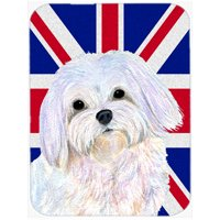 Carolines Treasures SS4924MP 7.75 x 9.25 In. Maltese With English Union Jack British Flag Mouse Pad, Hot Pad Or Trivet