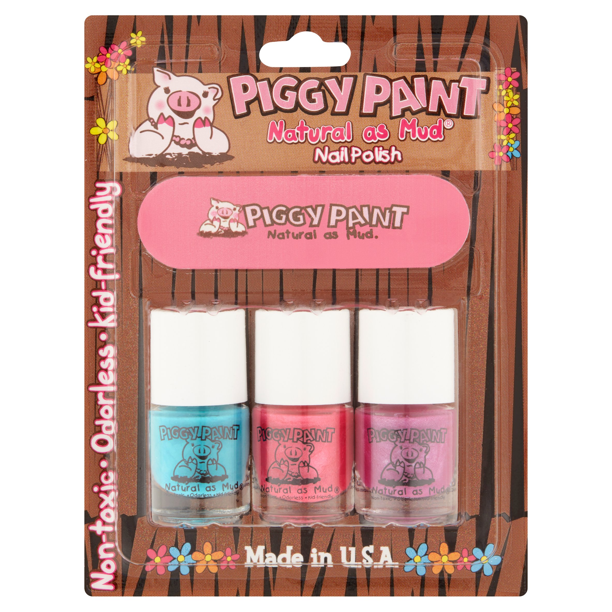 Piggy Paint Natural as Mud Sea-Quin / Forever Fancy / Girls Rule! Nail Polish .36 fl. oz.