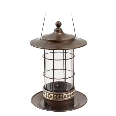 (82 Bird Feeder with 2.5 lb Bird Seed Capacity, Copper Finish Trellis Lantern-Style Bird Feeder, Brushed silver metal and blue tile mosaic detail. By More Birds