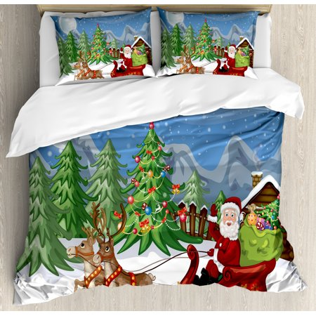 Christmas King Size Duvet Cover Set, Country Landscape at Night with Trees Santa Claus Snowdrift Reindeers Mountains, Decorative 3 Piece Bedding Set with 2 Pillow Shams, Multicolor, by Ambesonne Mountain Fresh Bedding