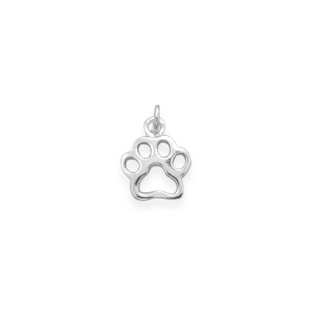 Sterling Silver Animal Charms - Animal Paw Print Charm Polished Sterling Silver Cat Dog