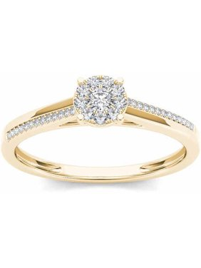 1/6 Carat T.W. Diamond 10kt Yellow Gold Cluster Engagement Ring