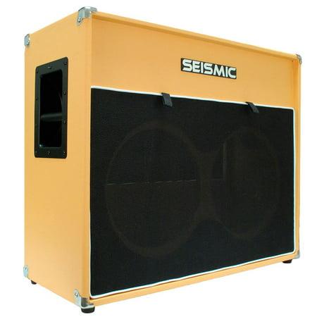 Seismic Audio 2x12 EMPTY GUITAR SPEAKER CABINET Orange Tolex Cab  212 Black - Luke-2x12V_ORBL 2x12 Guitar Speaker Cabinet