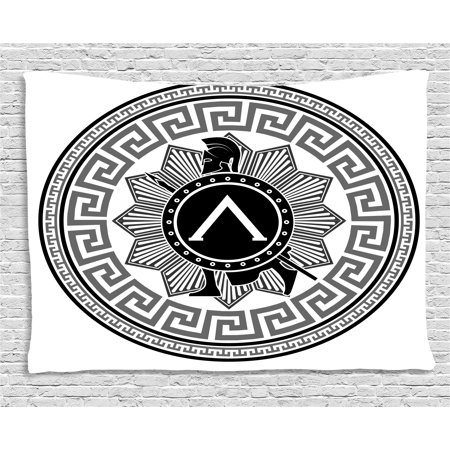 Toga Party Tapestry, Label with Greek Pattern Spartan Soldier Silhouette Retro Military Icon, Wall Hanging for Bedroom Living Room Dorm Decor, 80W X 60L Inches, Grey Black White, by Ambesonne](Greek Spartan)