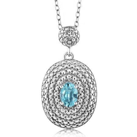 0.76 Ct Oval Blue Zircon White Diamond Rhodium Plated Pendant