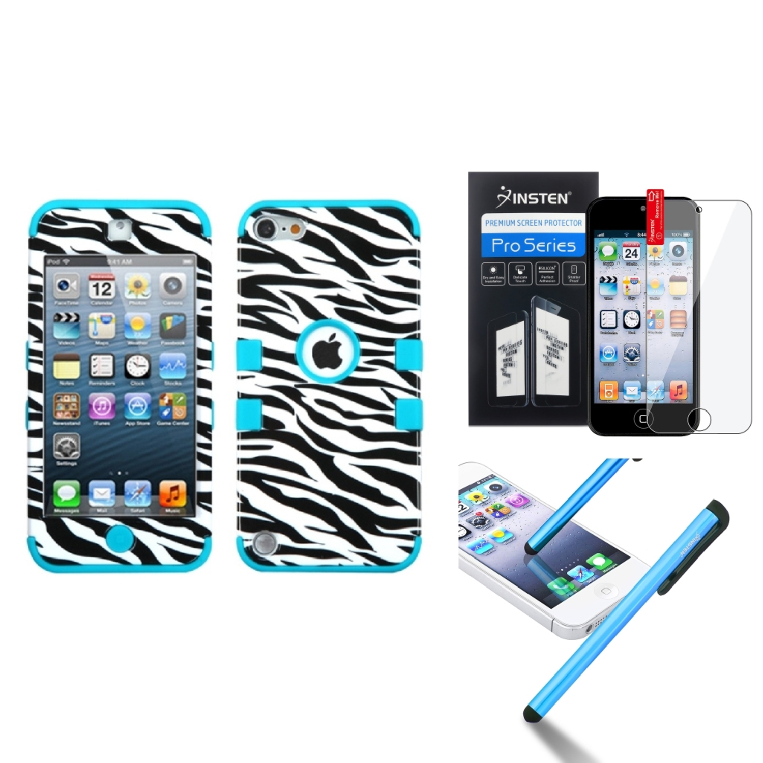 Insten Zebra Skin/Tropical Teal TUFF Hybrid Hard Case For iPod touch 6 6G 5 5G +Protector+Pen (3-in-1 Accessory Bundle)