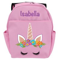 "Personalized Pink Happy Unicorn Backpack with Adjustable Shoulder Straps and Carrying Handle, 17"" x 14"""