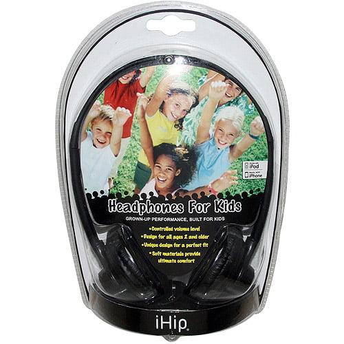 iHip IPHP8BK Black Headphones for Kids Controlled Volume Level