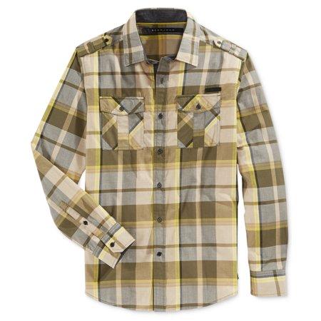 Sean John New Green Yellow Mens Xl Button Down Plaid Print Shirt