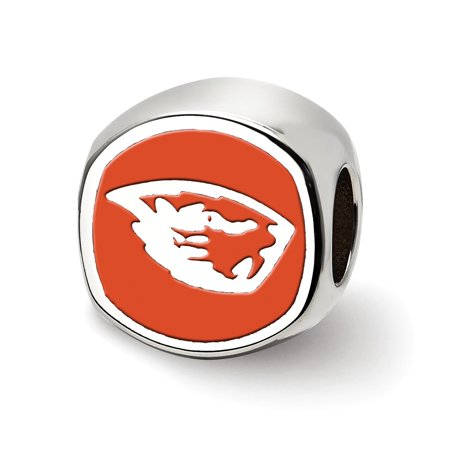 Beaver Jewelry Charm - Solid 925 Sterling Silver Oregon State University Beaver Head Cushion shaped double logo Bead Charm Very Small Pendant